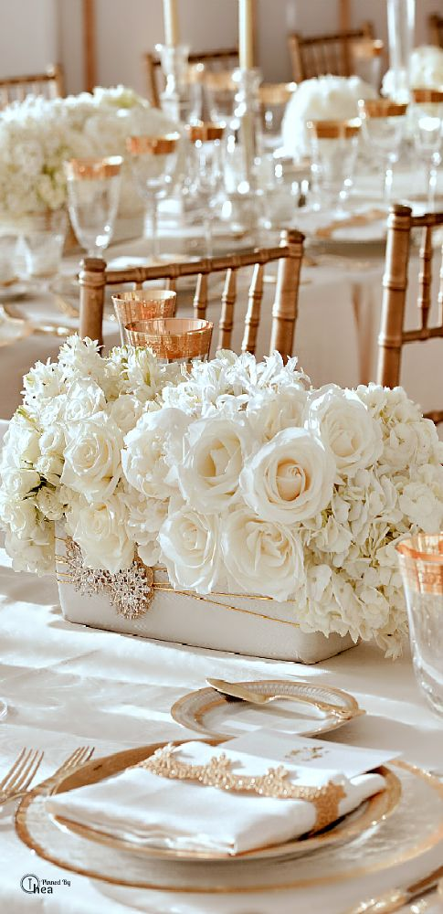 Décoration de mariage or et blanc
