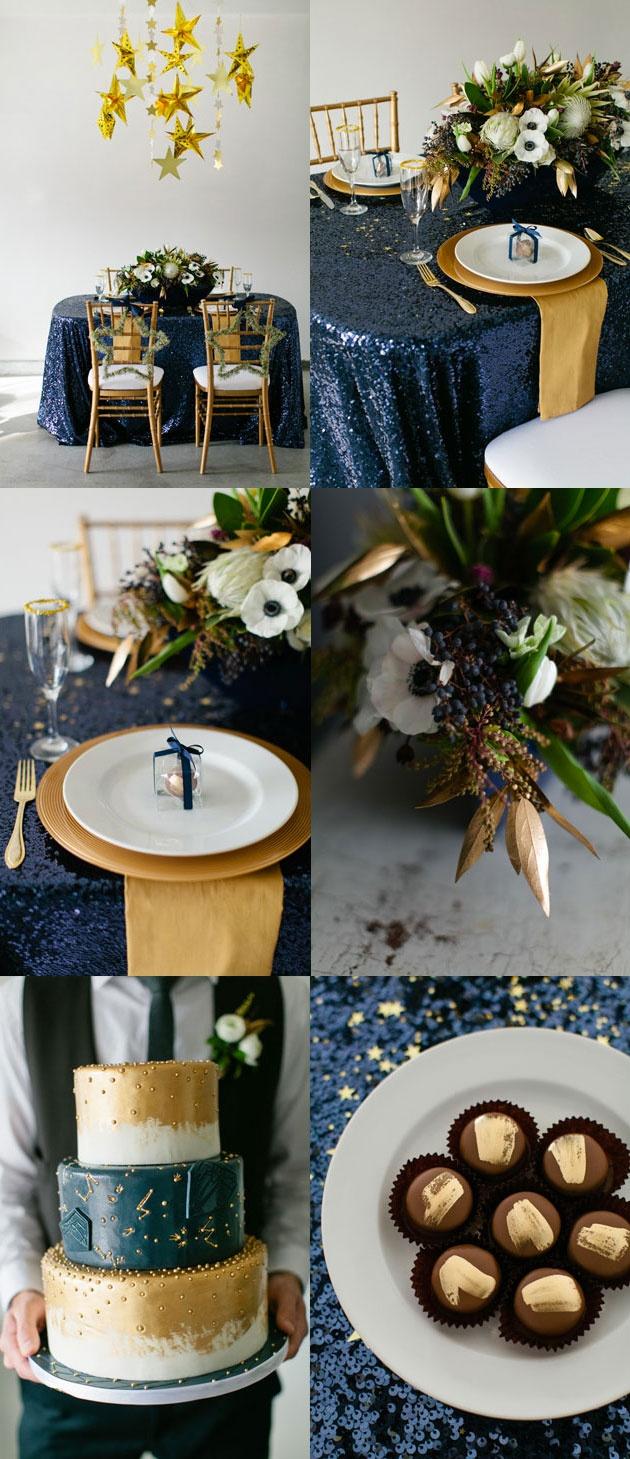 D corez vos tables de r ception en bleu roy et or mariage en vogue for Decoration chambre bleu nuit et or