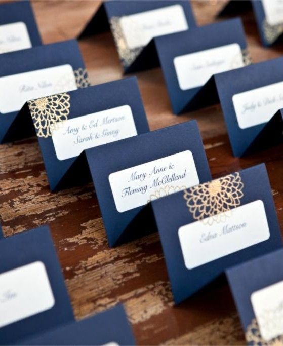 Deco table mariage bleu or marque place mariage en vogue - Marque place mariage ...